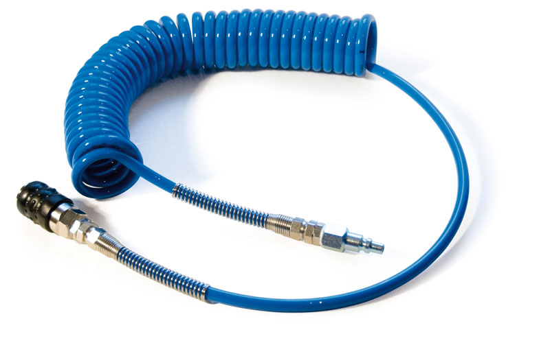 Coiled air hose for pneumatic hand trimming device